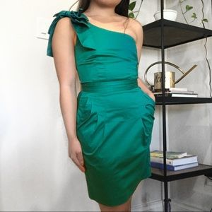 French Connection Green bow oneshoulder mini dress